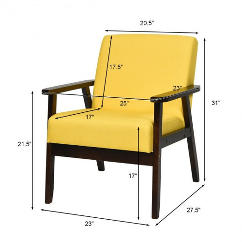 Solid Rubber Wood Fabric Accent Armchair-Yellow