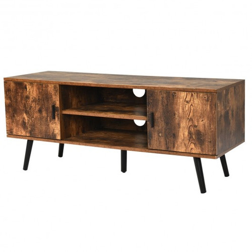 Industrial TV Stand w/Storage Cabinets-Coffee