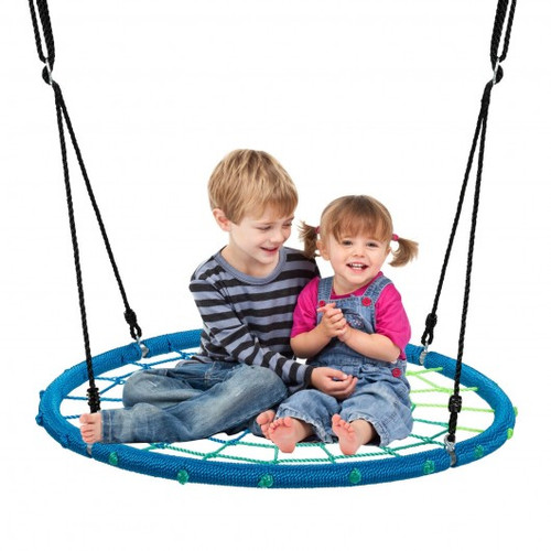 40'' Spider Web Tree Swing Children Outdoor Play Set w/Adjustable Ropes-Blue