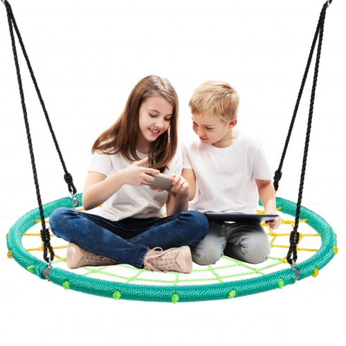 40'' Spider Web Tree Swing Children Outdoor Play Set w/Adjustable Ropes-Green