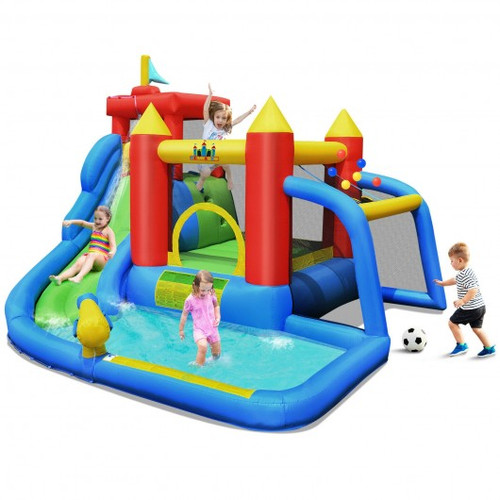 Inflatable Bouncer Bounce House w/Water Slide Splash Pool w/o Blower