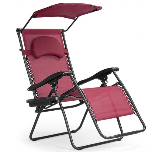 Folding Recliner Lounge Chair w/Shade Canopy Cup Holder-Wine