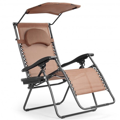 Folding Recliner Lounge Chair w/Shade Canopy Cup Holder-Coffee