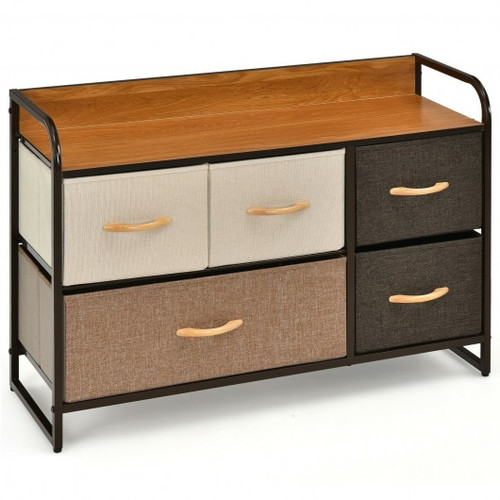 5-Drawer Dresser Storage Tower w/Fold-able Fabric Drawers