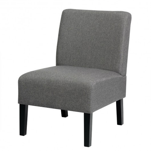 Armless Accent Chair  w/Rubber Wood Legs -Gray