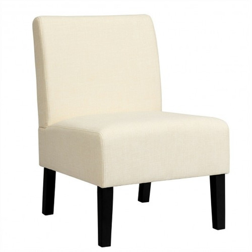 Armless Accent Chair  w/Rubber Wood Legs -Beige