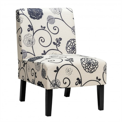 Armless Accent Chair  w/Rubber Wood Legs -Black & White