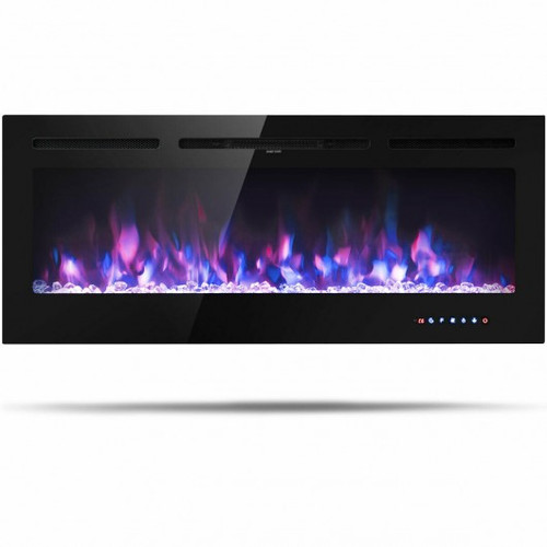 50 inch Recessed Electric Insert Wall Mounted Fireplace w/Adjustable Brightness