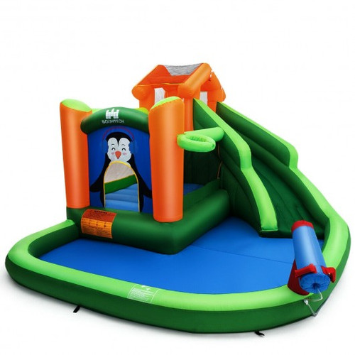 Inflatable Water Park Bouncer w/Climbing Wall Splash Pool Water Cannon