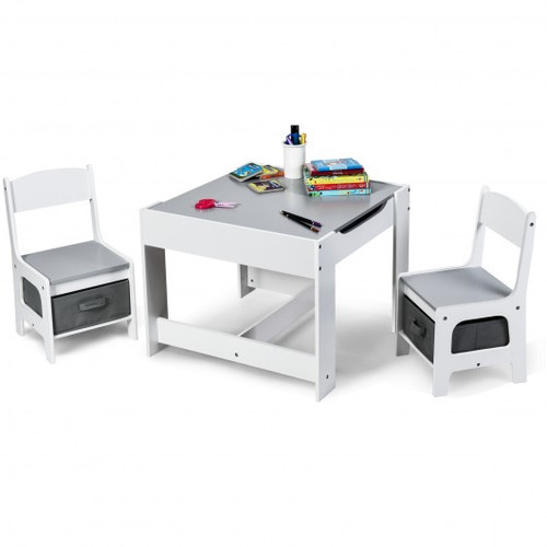 Children's Table Chairs Set w/Storage Boxes Blackboard Whiteboard Drawing-White