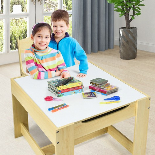 Children's Table Chairs Set w/Storage Boxes Blackboard Whiteboard Drawing-Natural