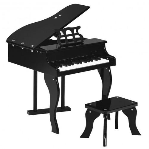 Classic 30 Key Baby Grand Wooden Piano w/Bench-Black