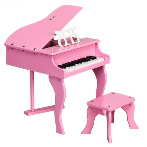 Classic 30 Key Baby Grand Wooden Piano w/Bench-Pink