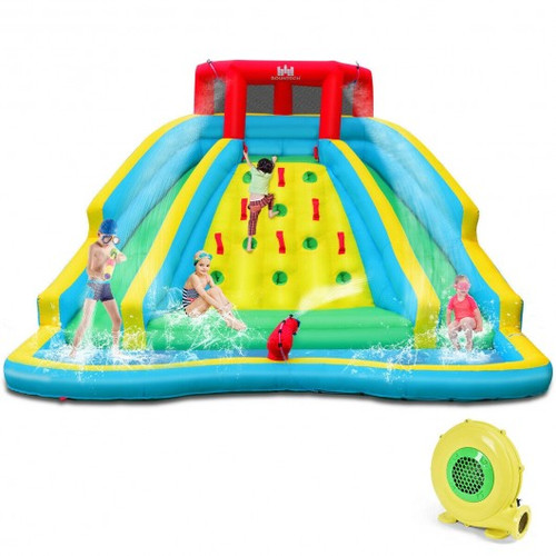 Inflatable Water Park Bounce House w/Double Slide & Climbing Wall