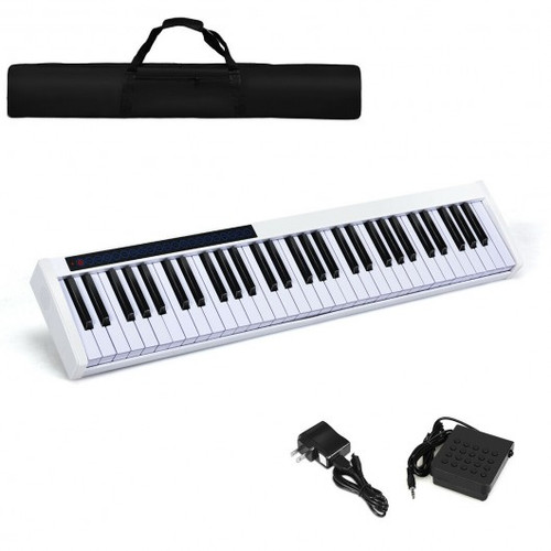 61-Key Portable Digital Stage Piano w/Carrying Bag-White