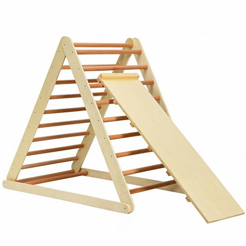 Foldable Wooden Climbing Triangle Indoor w/Ladder for Toddler Baby-Natural