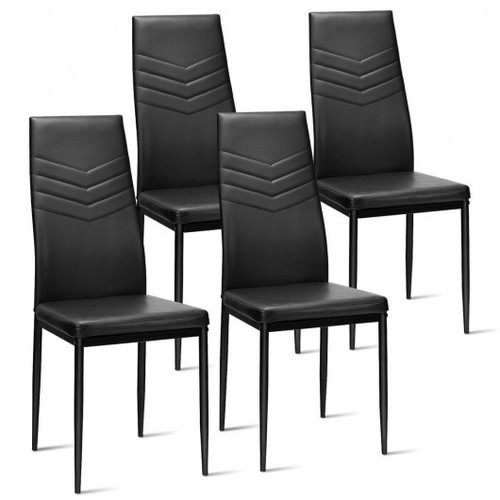 Set of 4 Faux Dining Side Metal Frame Chairs