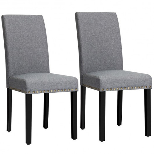 Set of 2 Fabric Upholstered Dining Chairs w/Nailhead-Gray