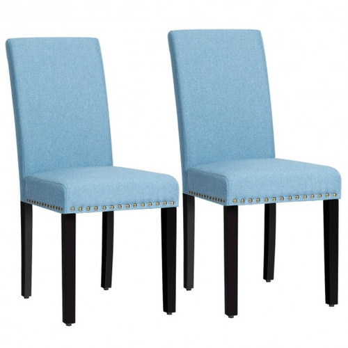 Set of 2 Fabric Upholstered Dining Chairs w/Nailhead-Blue