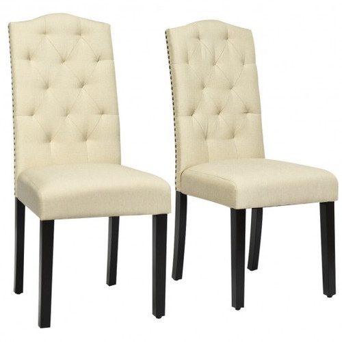 Set of 2 Tufted Upholstered Dining Chair-Beige