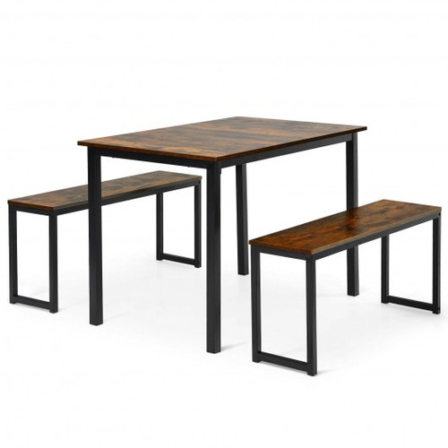 3-Piece Kitchen Dining Table Set w/2 Benches for Limited Space -Coffee