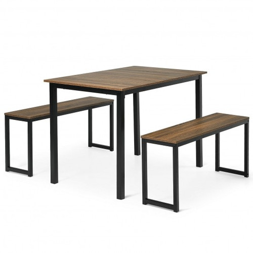 3-Piece Kitchen Dining Table Set w/2 Benches for Limited Space -Natural