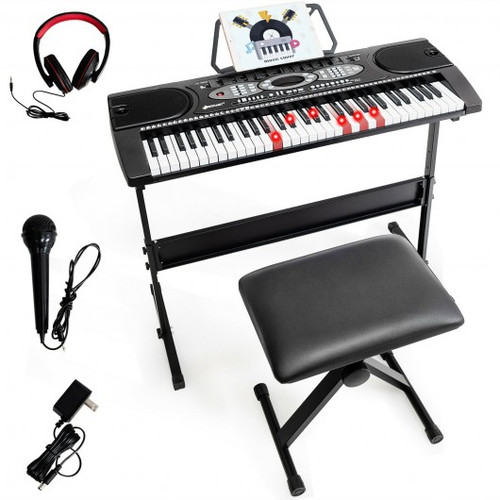 61 Key Electronic Piano w/Lighted Keys Stand Bench Headphone