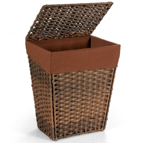 Foldable Handwoven Laundry Hamper w/Removable Liner-Brown