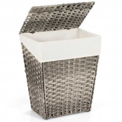 Foldable Handwoven Laundry Hamper w/Removable Liner-Gray