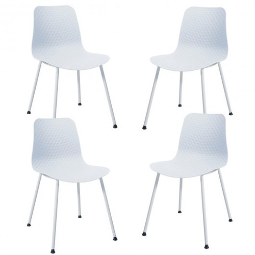 Set of 4 Dining Plastic Chair w/Metal Legs Sage-White