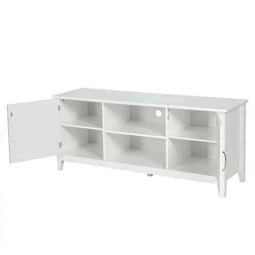Entertainment Media TV Stand w/Storage Cabinets-White