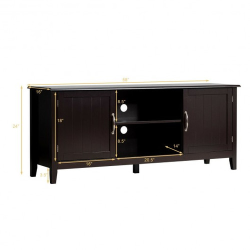 Entertainment Media TV Stand w/Storage Cabinets-Brown