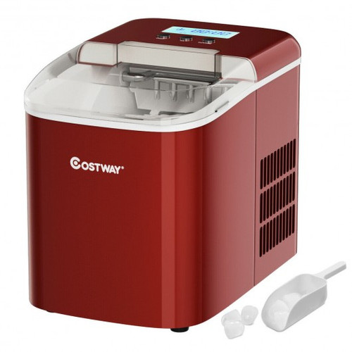 26 lbs Countertop LCD Display Ice Maker w/Ice Scoop-Red