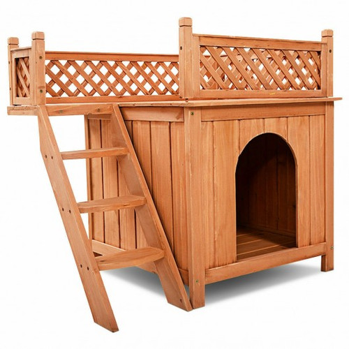 Wood Pet Dog House w/Roof Balcony & Bed Shelter