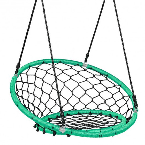 Net Hanging Swing Chair w/Adjustable Hanging Ropes-Green