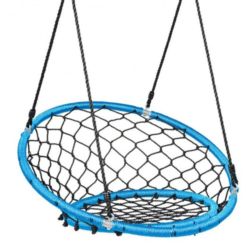 Net Hanging Swing Chair w/Adjustable Hanging Ropes-Blue