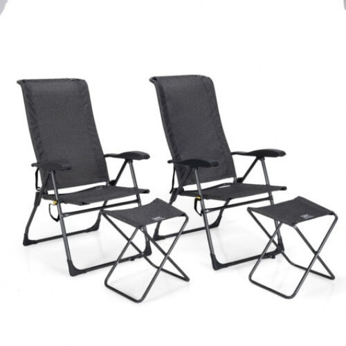 4 Pieches Patio Adjustable Back Folding Dining Chair Ottoman Set-Gray