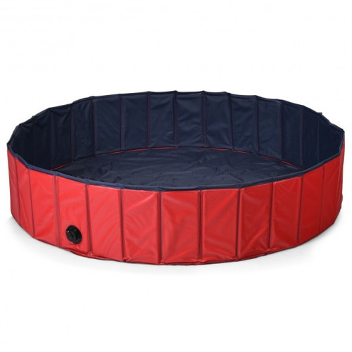 """55"""" Faux Outdoor Foldable Pet & Children Swimming Pool-Red"""