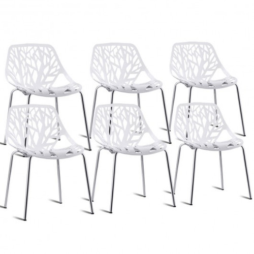 Set Of 6 Accent Armless Plastic Dining Side Chairs