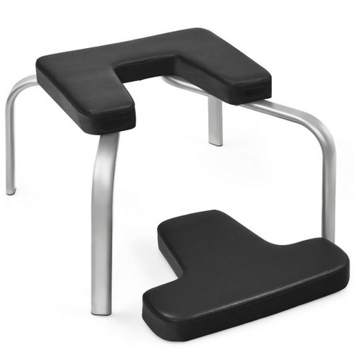 Yoga Iron Headstand Bench w/ Faux Pads for Family Gym-Black