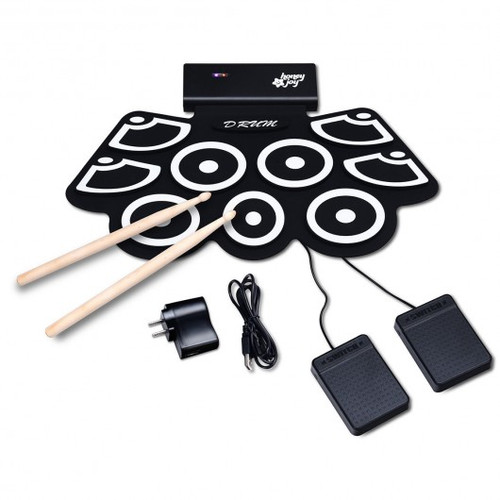 Electronic Silicone Rechargeable Drum Set w/Pedals Sticks