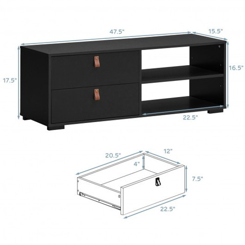 Entertainment Media TV Stand w/Drawers-Black