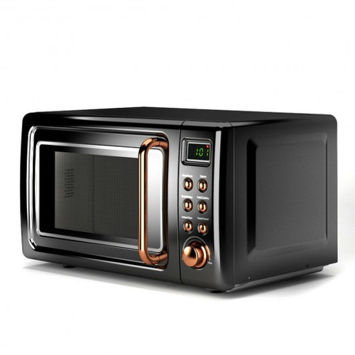 700W Retro Countertop Microwave Oven w/5 Micro Power & Auto Cooking Function-Golden