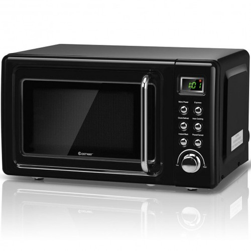 700W Retro Countertop Microwave Oven w/5 Micro Power & Auto Cooking Function-Black