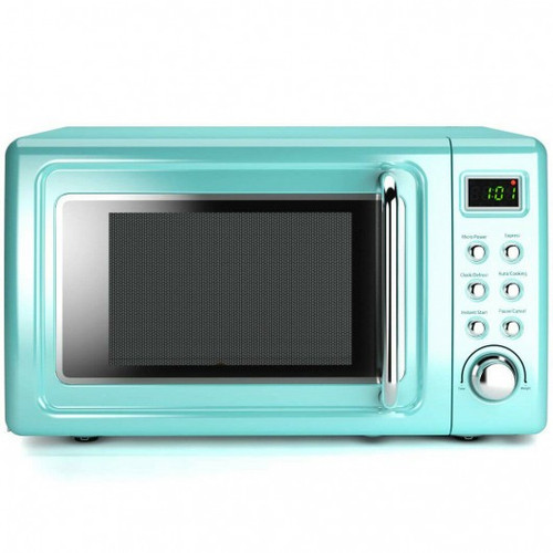 700W Retro Countertop Microwave Oven w/5 Micro Power & Auto Cooking Function-Green