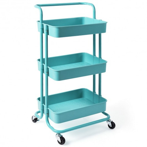 3-Tier Utility Cart Storage Rolling Cart w/Casters-Blue