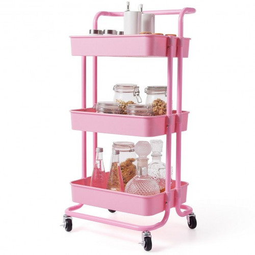 3-Tier Utility Cart Storage Rolling Cart w/Casters-Pink