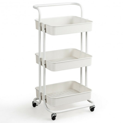 3-Tier Utility Cart Storage Rolling Cart w/Casters-White
