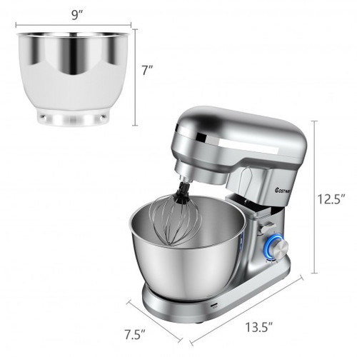 4.8 Qt 8-speed Electric Food Mixer w/Dough Hook Beater-Silver