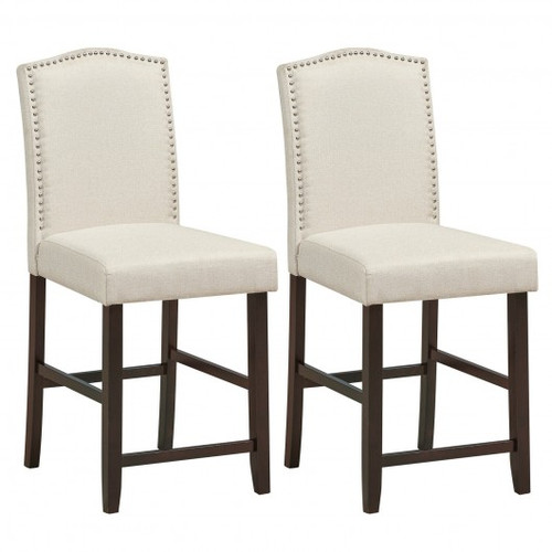 2pc Fabric Nail Head Counter Height Dining Side Chairs Set-Beige